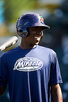Fort Myers Miracle shortstop Nick Gordon (2) during batting practice before a game against the Bradenton Marauders on April 9, 2016 at McKechnie Field in Bradenton, Florida.  Fort Myers defeated Bradenton 5-1.  (Mike Janes/Four Seam Images)