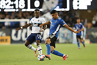 SAN JOSE, CA - AUGUST 13: Andy Rios #25 of the San Jose Earthquakes during a game between Vancouver Whitecaps and San Jose Earthquakes at PayPal Park on August 13, 2021 in San Jose, California.