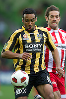 MELBOURNE, AUSTRALIA - SEPTEMBER 19, 2010: Paul Ifill from the Phoenix chases the ball in Round 7 of the 2010 A-League between the Melbourne Heart and Wellington Phoenix at AAMI Park on September 19, 2010 in Melbourne, Australia. (Photo by Sydney Low / Asterisk Images)