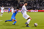 Hamad Mahmood Alshamsan of Bahrain (R) competes for the ball with Anirudh Thapa of India during the AFC Asian Cup UAE 2019 Group A match between India (IND) and Bahrain (BHR) at Sharjah Stadium on 14 January 2019 in Sharjah, United Arab Emirates. Photo by Marcio Rodrigo Machado / Power Sport Images