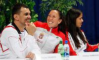 Tenis, Fed Cup 2011, play-off for group A.Slovakia Vs. Serbia, Official Draw.from left, Team captain Dejan Vranes, Jelena Jankovic,  and Ana Ivanovic.Bratislava, 15.04.2011..foto: Srdjan Stevanovic/Starsportphoto ©