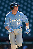 North Carolina Tar Heels third baseman Colin Moran #18 rounds first base against the California Golden Bears in the NCAA baseball game on March 2nd, 2013 at Minute Maid Park in Houston, Texas. North Carolina defeated Cal 11-5. (Andrew Woolley/Four Seam Images).