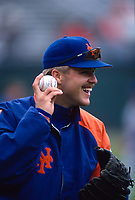 SAN FRANCISCO, CA:  Jeff Kent of the New York Mets plays catch before a game against the San Francisco Giants at Candlestick Park in San Francisco, California on April 23, 1994. (Photo by Brad Mangin)