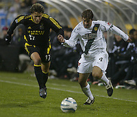 Columbus Crew's Danny Szetela (17) and Los Angeles Galaxy's Paul Broome (4) during the second half at Columbus Crew Stadium in Columbus, Ohio Saturday April 2, 2005.