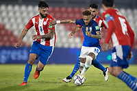 08th June 2021; Defensores del Chaco Stadium, Asuncion, Paraguay; World Cup football 2022 qualifiers; Paraguay versus Brazil;   Júnior Alonso and Omar Alderete of Paraguay and Neymar of Brazil