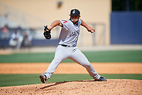 Jackson Generals relief pitcher Gabriel Moya (17) delivers a pitch during a game against the Biloxi Shuckers on April 23, 2017 at MGM Park in Biloxi, Mississippi.  Biloxi defeated Jackson 3-2.  (Mike Janes/Four Seam Images)