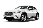Stock pictures of low aggressive front three quarter view of 2017 Mazda CX-3 Grand-Touring 5 Door SUV Low Aggressive