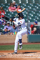 Surprise Saguaros Donny Sands (13), of the New York Yankees organization, at bat during the Arizona Fall League Championship Game against the Salt River Rafters on October 26, 2019 at Salt River Fields at Talking Stick in Scottsdale, Arizona. The Rafters defeated the Saguaros 5-1. (Zachary Lucy/Four Seam Images)