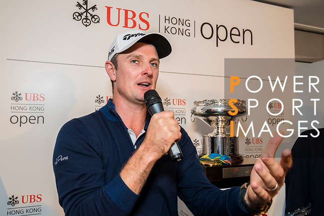Justin Rose of England speaks to the fans at the UBS Pavilion during the day three of UBS Hong Kong Open 2017 at the Hong Kong Golf Club on 25 November 2017, in Hong Kong, Hong Kong. Photo by Yu Chun Christopher Wong / Power Sport Images