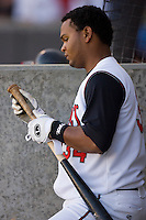 Juan Francisco #34 of the Carolina Mudcats prepares his bat prior to his turn to hit at Five County Stadium May 19, 2009 in Zebulon, North Carolina. (Photo by Brian Westerholt / Four Seam Images)
