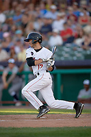 Tri-City ValleyCats second baseman Michael Wielansky (17) follows through on a swing during a game against the Vermont Lake Monsters on June 16, 2018 at Joseph L. Bruno Stadium in Troy, New York.  Vermont defeated Tri-City 6-2.  (Mike Janes/Four Seam Images)