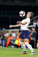 Lucy Bronze of England Women controls on her chest during the Women's international friendly match between England Women and Australia at Craven Cottage, London, England on 9 October 2018. Photo by Carlton Myrie / PRiME Media Images.