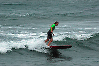 Saturday, June 14, 2008, Tourmaline Surf Park, Pacific Beach, San Diego, CA, USA.  Erin Lewis competes during the womens final of the Pacific Beach Surf Club's Tenth Annual Longboard Classic at Tourmaline Surfing Park.  The event was well attended despite gray, June gloom clouds and fickle, windy surf conditions.