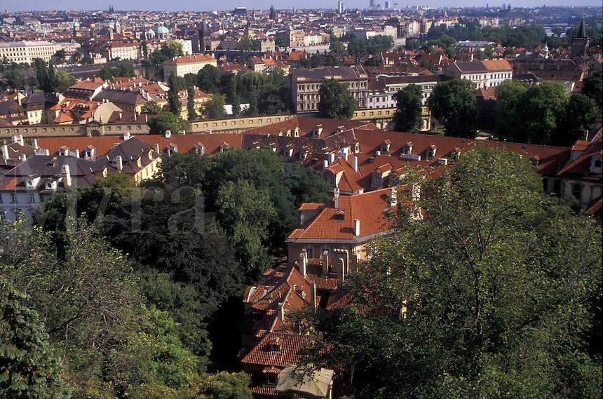AJ2195, Prague, Czech Republic, Europe, Aerial view of the city of Prague.