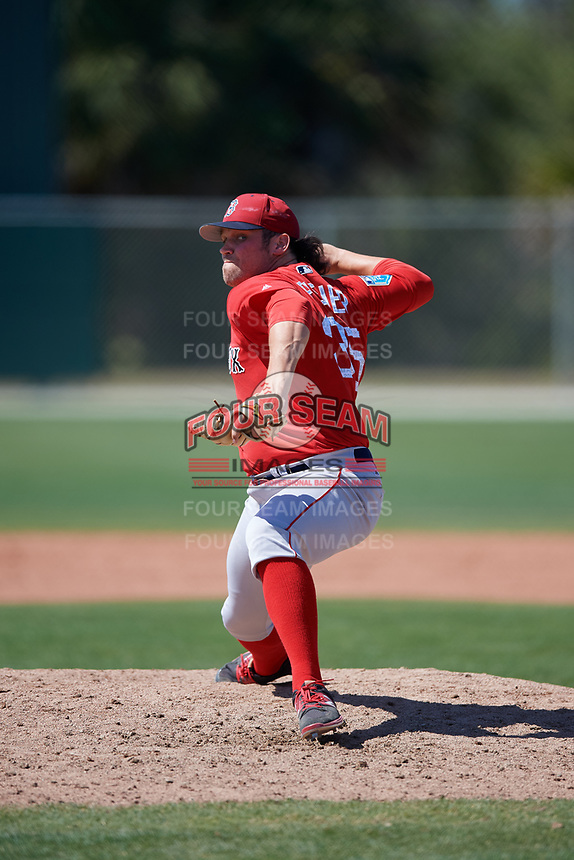 Boston Red Sox pitcher Devon Fisher (35) during a Minor League Spring Training game against the Baltimore Orioles on March 17, 2018 at the jetBlue Park Complex in Fort Myers, Florida.  (Mike Janes/Four Seam Images)