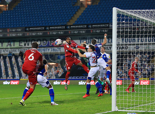 3rd November 2020; Ewood Park, Blackburn, Lancashire, England; English Football League Championship Football, Blackburn Rovers versus Middlesbrough; Britt Assombalonga of Middlesbrough is unable to make contact with a cross in the six yard area