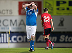 Dave Mackay Testimonial: St Johnstone v Dundee…06.10.17…  McDiarmid Park… <br />Roddy Grant holds his head after missing a chance to score<br />Picture by Graeme Hart. <br />Copyright Perthshire Picture Agency<br />Tel: 01738 623350  Mobile: 07990 594431
