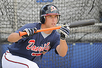June 18, 2008: Outfielder David Berres (1) of the Danville Braves, rookie Appalachian League affiliate of the Atlanta Braves, prior to a game against the Burlington Royals at Dan Daniel Memorial Park in Danville, Va. Photo by:  Tom Priddy/Four Seam Images