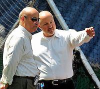 22 April 2010: Washington Nationals' President Stan Kasten (left) and General Manager Mike Rizzo converse during batting practice prior to a game against the Colorado Rockies at Nationals Park in Washington, DC. The Nationals were shut out by the Rockies 2-0 closing out their series with a 2-2 game split. Mandatory Credit: Ed Wolfstein Photo