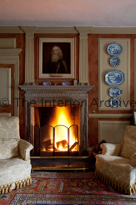 A painting of General Tam above the fire place in the Blue Room
