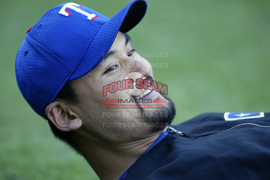 Chan Ho Park of the Texas Rangers before a 2002 MLB season game against the Los Angeles Angels at Angel Stadium, in Los Angeles, California. (Larry Goren/Four Seam Images)
