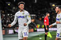 Leeds United's forward Tyler Roberts (11) celebrates the opening goal during the Sky Bet Championship match between Hull City and Leeds United at the KC Stadium, Kingston upon Hull, England on 2 October 2018. Photo by Stephen Buckley/PRiME Media Images.
