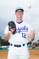 Brennan Henry (12) of the Burlington Royals poses for a photo prior to the game against the Princeton Rays at Burlington Athletic Park on July 9, 2014 in Burlington, North Carolina.  The Rays defeated the Royals 3-0.  (Brian Westerholt/Four Seam Images)