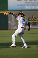 Jeremy Arocho (2) of the Inland Empire 66ers throws in the outfield before a game against the Lake Elsinore Storm at San Manuel Stadium on June 15,<br /> 2021 in San Bernardino, California. (Larry Goren/Four Seam Images)