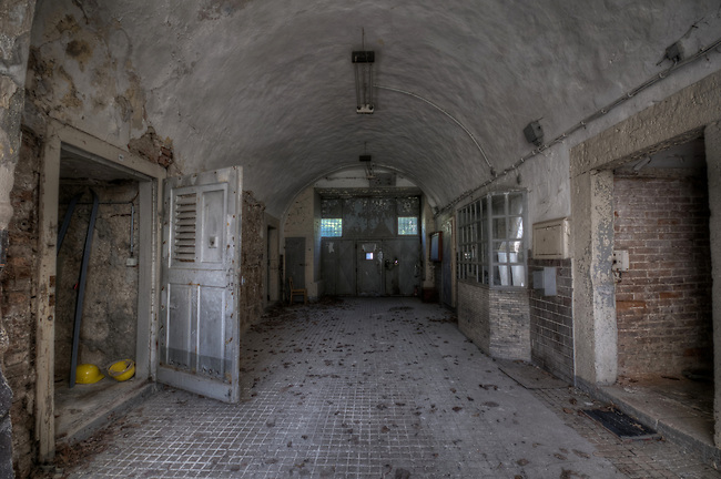 Abandoned Stasi prison <br /> This was the main entrace to the prison, where the truck would arrive with prisoners.