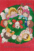 Interlitho, Soledad, CHRISTMAS CHILDREN, naive, paintings, kids, lambs, circle(KL2295,#XK#) Weihnachten, Navidad, illustrations, pinturas