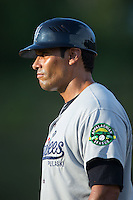 Pulaski Yankees defensive coach Hector Rabago (63) coaches first base during the game against the Danville Braves at American Legion Post 325 Field on July 31, 2016 in Danville, Virginia.  The Yankees defeated the Braves 8-3.  (Brian Westerholt/Four Seam Images)