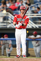 Batavia Muckdogs first baseman Scott Carcaise (13) at bat during a game against the Mahoning Valley Scrappers on June 20, 2014 at Dwyer Stadium in Batavia, New York.  Batavia defeated Mahoning Valley 7-4.  (Mike Janes/Four Seam Images)