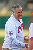 Scott Levin before throwing out a ceremonial first pitch before a Buffalo Bisons game against the Pawtucket Red Sox on May 19, 2017 at Coca-Cola Field in Buffalo, New York.  Buffalo defeated Pawtucket 7-5 in thirteen innings.  (Mike Janes/Four Seam Images)