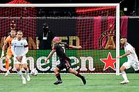 ATLANTA, GA - APRIL 24: Atlanta United forward #7 Josef Martinez sets to shoot the ball during a game between Chicago Fire FC and Atlanta United FC at Mercedes-Benz Stadium on April 24, 2021 in Atlanta, Georgia.