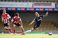 Joel Randall of Exeter City catches Jason Demetriou, Southend United and concedes a free kick during Southend United vs Exeter City, Sky Bet EFL League 2 Football at Roots Hall on 10th October 2020