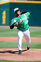 Dayton Dragons pitcher Wandy Peralta #28 during a game against the Bowling Green Hot Rods on April 21, 2013 at Fifth Third Field in Dayton, Ohio.  Bowling Green defeated Dayton 7-5.  (Mike Janes/Four Seam Images)