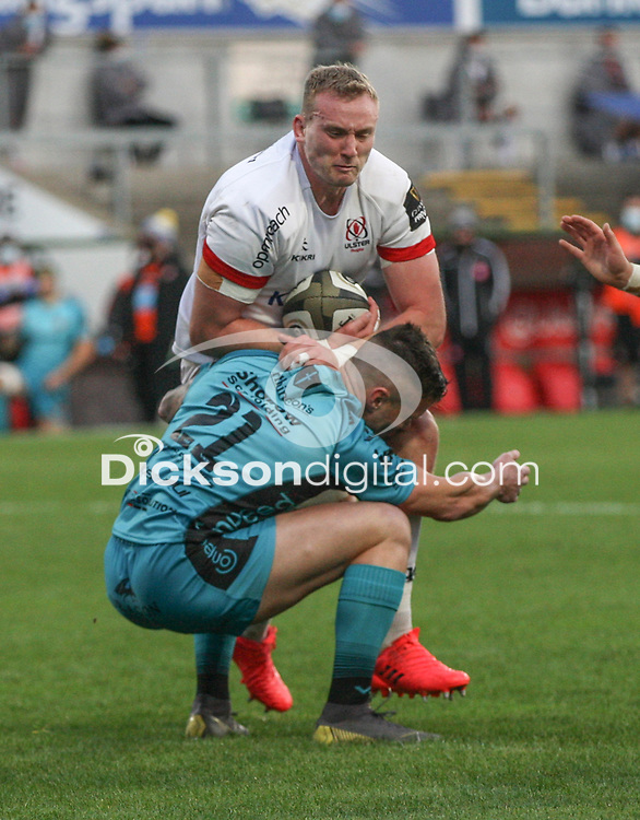 Sunday 25th October 2020   Ulster vs Dragons<br /> <br /> Kieran Treadwell is tackled by Tavis Knoyle during the Guinness PRO14 match between Ulster and Dragons at Kingspan Stadium in Belfast. Photo by John Dickson / Dicksondigital