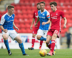 St Johnstone v Aberdeen…01.07.17  McDiarmid Park     Pre-Season Friendly <br />Ryan Christie is closed down by Chris Millar and Kyle McClean<br />Picture by Graeme Hart.<br />Copyright Perthshire Picture Agency<br />Tel: 01738 623350  Mobile: 07990 594431
