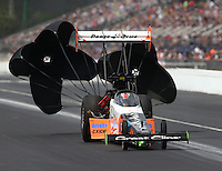 Mar 14, 2015; Gainesville, FL, USA; NHRA top fuel driver Clay Millican during qualifying for the Gatornationals at Auto Plus Raceway at Gainesville. Mandatory Credit: Mark J. Rebilas-