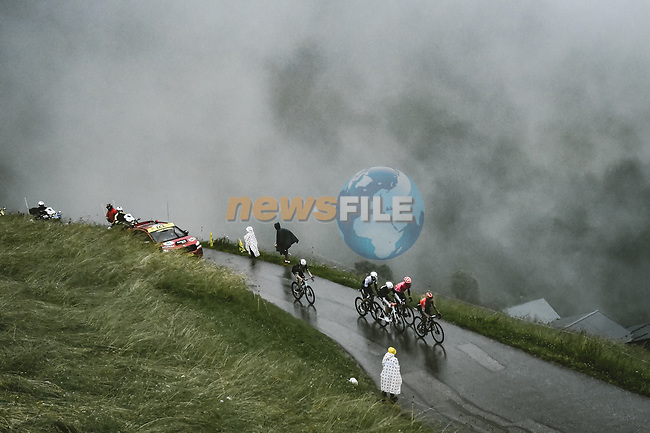 Ben O'Connor (AUS) AG2R Citroën Team, Nairo Quintana (COL) Team Arkea-Samsic, Sergio Higuita Garcia (Col) EF Education-Nippo and Michael Woods (CAN) Israel Start-Up Nation out front on the Col du Pré during Stage 9 of the 2021 Tour de France, running 150.8km from Cluses to Tignes, France. 4th July 2021.  <br /> Picture: A.S.O./Pauline Ballet   Cyclefile<br /> <br /> All photos usage must carry mandatory copyright credit (© Cyclefile   A.S.O./Pauline Ballet)