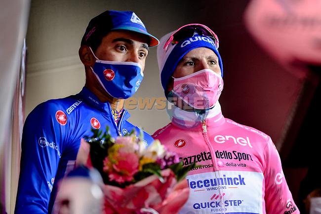 A great day for Portugal as Ruben Guerreiro (POR) EF Pro Cycling wins Stage 9 and takes over the Maglia Azzurra and Joao Almeida (POR) Deceuninck-Quick Step retains the Maglia Rosa at the end of Stage 9 the 103rd edition of the Giro d'Italia 2020 running 208km from San Salvo to Roccaraso (Aremogna), Sicily, Italy. 11th October 2020.  <br /> Picture: LaPresse/Marco Alpozzi   Cyclefile<br /> All photos usage must carry mandatory copyright credit (© Cyclefile   LaPresse/Marco Alpozzi)