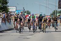 Phil Bauhaus (DEU/Sunweb) beats Arnaud Démare (FRA/FDJ) &  Bryan Coquard (FRA/Direct Energie) in a bunch sprint<br /> <br /> Stage 5: La Tour-de-Salvagny › Mâcon (175km)<br /> 69th Critérium du Dauphiné 2017