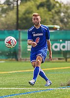 5 September 2014: University of Massachusetts River Hawks Backfielder Noah Teperow, a Freshman from Dracut, MA, in action against the St. Francis College Terriers at Virtue Field in Burlington, Vermont. The River Hawks defeated the Terriers 3-1, on their way to finishing the Morgan Stanley Smith Barney Windjammer Classic Men's Soccer Tournament with a 2-0 record, and being crowned as tournament champions on goal differential. Mandatory Credit: Ed Wolfstein Photo *** RAW (NEF) Image File Available ***