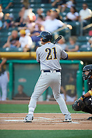 Scott Van Slyke (21) of the New Orleans Baby Cakes bats against the Salt Lake Bees at Smith's Ballpark on June 8, 2018 in Salt Lake City, Utah. Salt Lake defeated New Orleans 4-0.  (Stephen Smith/Four Seam Images)