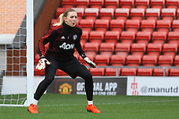 Siobhan Chamberlain (Manchester United Women) during the English Womens Championship match between Manchester United Women and Leicester City Women at Leigh Sports Village, Leigh, England on 10 March 2019. Photo by James Gill / PRiME Media Images.