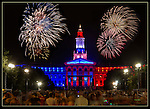 Photoshop. Fireworks and crowd added to Denver Courthouse, Colorado.