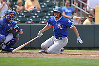 Oklahoma City Dodgers shortstop Breyvic Valera (2) swings at a pitch against the Omaha Storm Chasers at Werner Park on June 24, 2018 in Omaha, Nebraska. Omaha won 8-0.  (Dennis Hubbard/Four Seam Images)