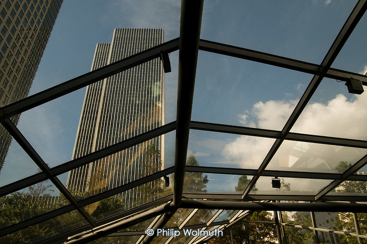 The Lehman Brothers office building at Canary Wharf on the Isle of Dogs in London Docklands