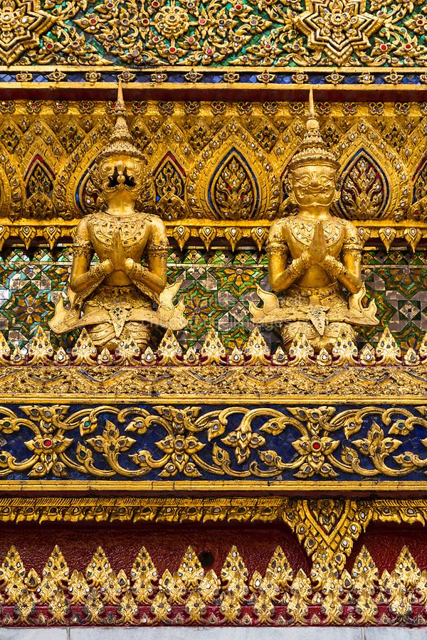 Bangkok, Thailand.  Detail of the Phra Mondop External Decoration, Guardian Demons.