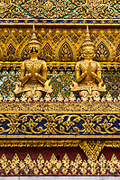 Bangkok, Thailand.  Detail of the Phra Mondop External Decoration, Guardian Demons.